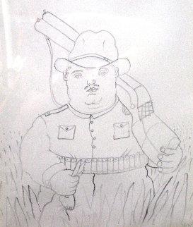 Hunter 1980 27x25 Drawing - Fernando Botero