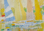 Sailboats At the Marina 1960 32x44 Original Painting - Italo Botti