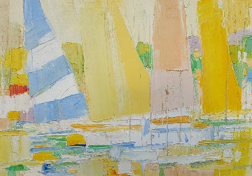 Sailboats At the Marina 1960 32x44 Original Painting - Italo Botti
