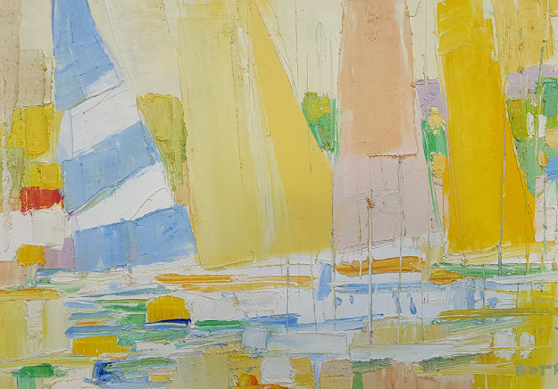 Sailboats At the Marina 1960 32x44 Original Painting by Italo Botti