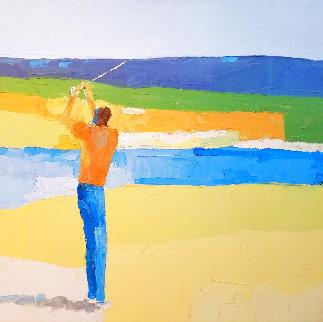 Golfer 36x36 Huge Original Painting - Italo Botti