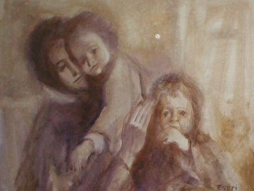 Mother With Two Children 32x44 Original Painting - Italo Botti