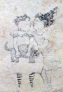 Les Enfants Avec Le Chat Drawing 1993 15x17 Drawing - Graciela Rodo Boulanger