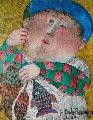 Pescados 2003 17x15 Original Painting - Graciela Rodo Boulanger