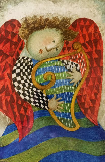 Music  Des Anges, Harpe  1981 Limited Edition Print - Graciela Rodo Boulanger