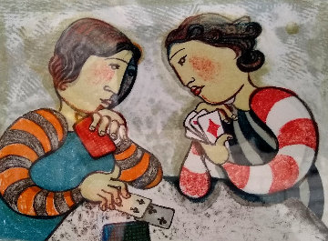 Untitled Portrait of Two Girls Playing Cards Limited Edition Print - Graciela Rodo Boulanger