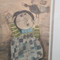 Boy With Bird 1970 Limited Edition Print by Graciela Rodo Boulanger - 2