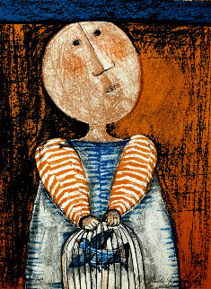 Boy With Caged Bird Limited Edition Print by Graciela Rodo Boulanger