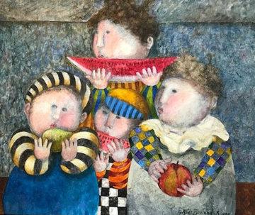 Pomme, Poire, Pastique 1995 23x27 Original Painting - Graciela Rodo Boulanger