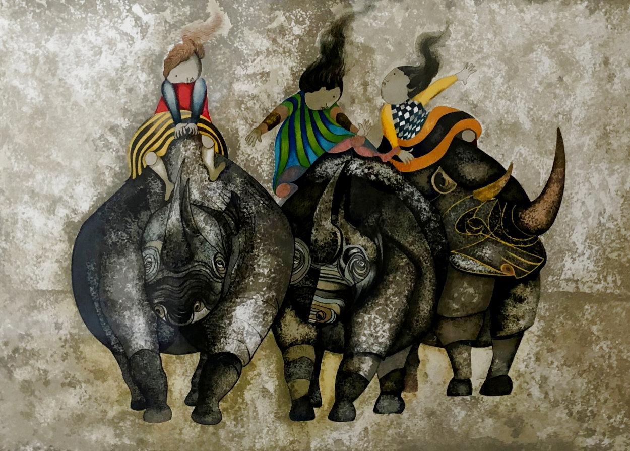 3 Rhinos 1980 Limited Edition Print by Graciela Rodo Boulanger