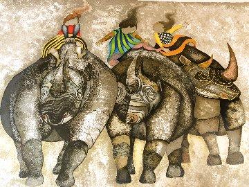 3 Rhinos 1980 Limited Edition Print - Graciela Rodo Boulanger