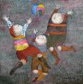 Jeu de Ballon 1993 20x20 Original Painting - Graciela Rodo Boulanger