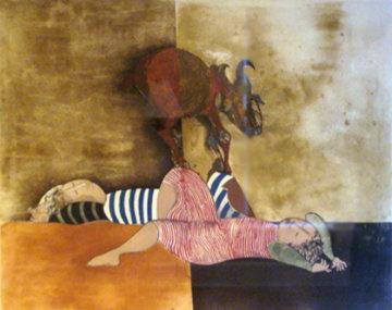 Deux Enfants et Une Chevre Limited Edition Print - Graciela Rodo Boulanger