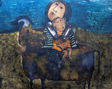 Mother and Child on a Bull 1960 (Early) Limited Edition Print by Graciela Rodo Boulanger