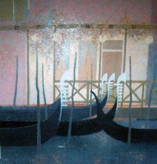 Les Gondoles 59x59 Original Painting - Andre Bourrie