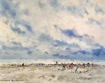 Pecheur De Crevette, Grancamp 28x34 Original Painting - Jacques Bouyssou