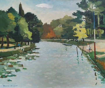 Poissy 1955 29x33 Original Painting - Jacques Bouyssou