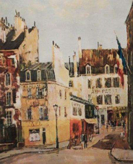 Paris Watercolor 22x22 Watercolor by Jacques Bouyssou