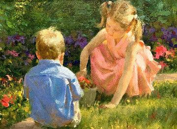 Spring Garden 2000 21x25 Original Painting - Joe Bowler