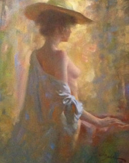 Nude With Shawl 1983 38x32 Original Painting - Joe Bowler