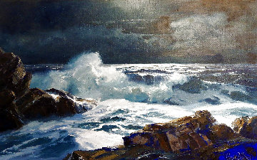 Moon in Pisces 30x40 Huge Original Painting - Bennett Bradbury
