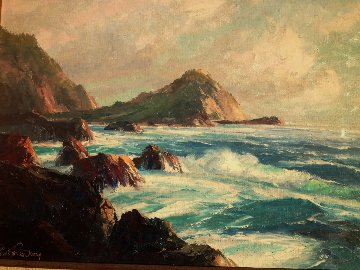 Untitled California Seascape 1986 25x29 Original Painting - Bennett Bradbury