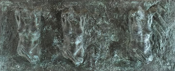 Female Fragment Triptych Bronze Sculpture 2001 12x25 Sculpture by Paige Bradley
