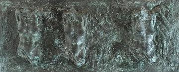 Female Fragment Triptych Bronze Sculpture 2001 12x25 Sculpture - Paige Bradley
