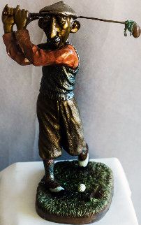 Golfer Bronze Sculpture 1979 13 in Sculpture by Charles Ray Bragg