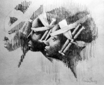 Watusi Heads Drawing 1961 14x14 Drawing - Charles Ray Bragg