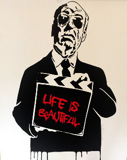 Alfred Hitchcock Life is Beautiful (Red) 2009 Limited Edition Print by Mr. Brainwash