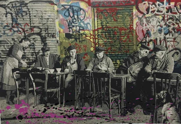 Le Bistro Unique 22x30 Limited Edition Print by Mr. Brainwash