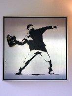 Banksy Thrower Unique on Metal 2012 36x36 Huge Original Painting by Mr. Brainwash - 3