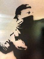 Banksy Thrower Unique on Metal 2012 36x36 Huge Original Painting by Mr. Brainwash - 7