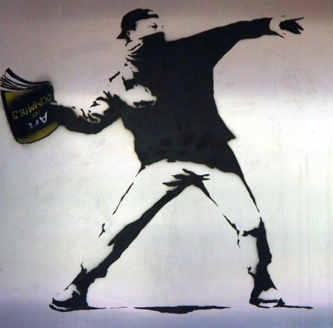 Banksy Thrower Unique on Metal 2012 36x36 Huge Original Painting by Mr. Brainwash