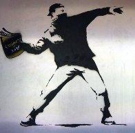 Banksy Thrower Unique on Metal 2012 36x36 Huge Original Painting by Mr. Brainwash - 0
