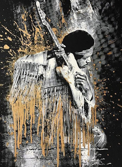 Jimi Hendrix Gold 2015 Limited Edition Print by Mr. Brainwash