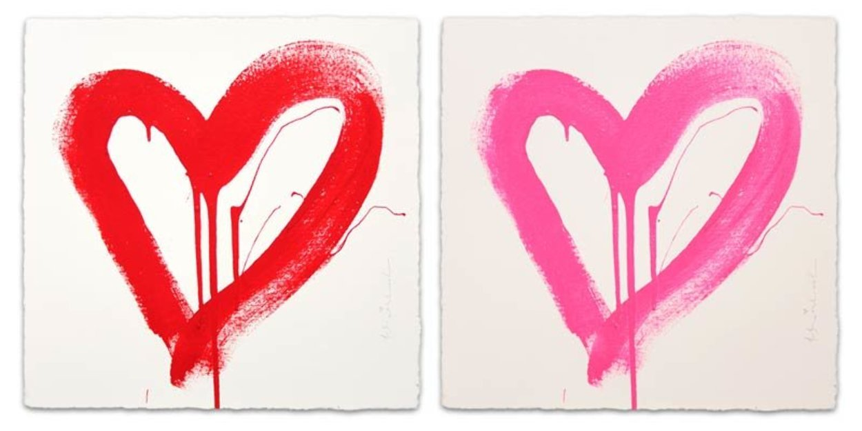 Love Heart - Red And Pink Matching Set 2017 Limited Edition Print by Mr. Brainwash