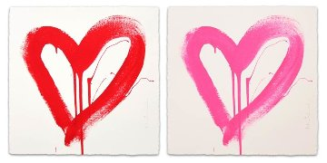 Love Heart - Red And Pink Matching Set 2017 Limited Edition Print - Mr. Brainwash