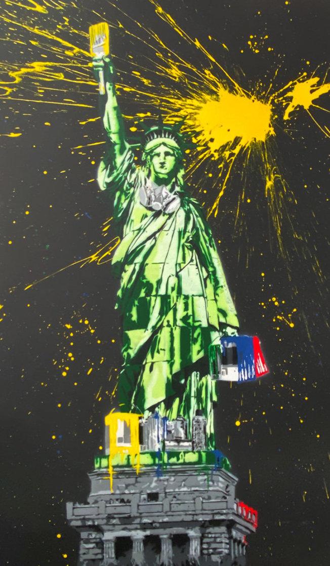 Statue of Liberty Black 2010 65x41 Huge Original Painting by Mr. Brainwash