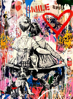 Working Well Together 2019 30x23 Original Painting by Mr. Brainwash