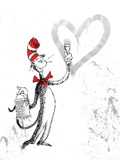 Cat And the Heart (Silver) 2020 Limited Edition Print - Mr. Brainwash