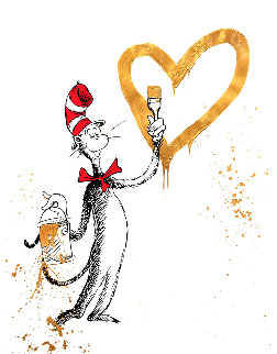 Cat and the Heart (Gold) 2020 Embellished Limited Edition Print - Mr. Brainwash