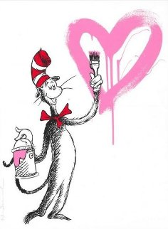 Cat And the Heart (Pink) Limited Edition Print - Mr. Brainwash