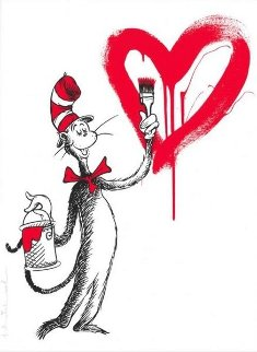 Cat And the Heart (Red) Limited Edition Print - Mr. Brainwash