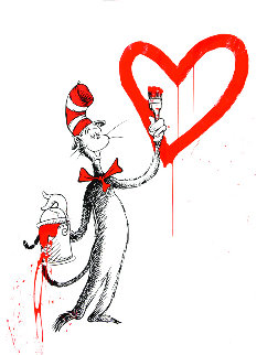 Cat And the Heart Red Large 2020 Limited Edition Print - Mr. Brainwash