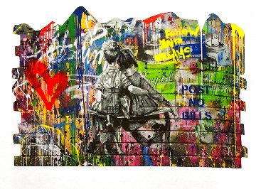 Work Well Together - Wall 2019 49x74 Huge Original Painting - Mr. Brainwash