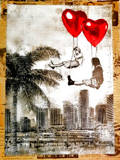 Love is in the Air Miami 2019 Unique 30x22 Works on Paper (not prints) - Mr. Brainwash