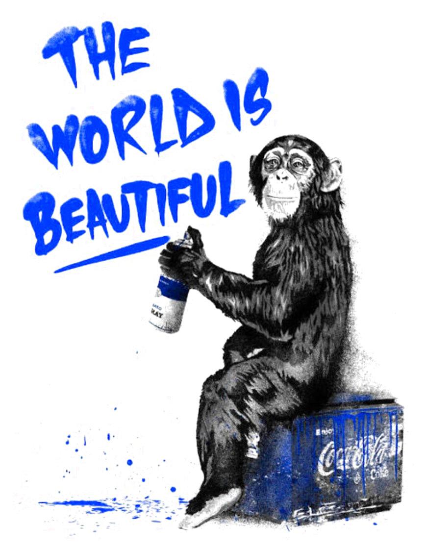World is Beautiful (Blue) 2020 Limited Edition Print by Mr. Brainwash