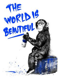 World is Beautiful (Blue) 2020 Limited Edition Print - Mr. Brainwash